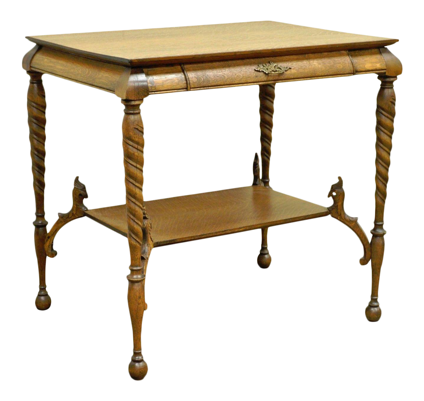 Captivating Antique Victorian Oak Barley Twist Figural Ladies Writing Desk Hall Table