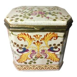 Large Art Nouveau Style Hinged & Lidded Porcelain Box