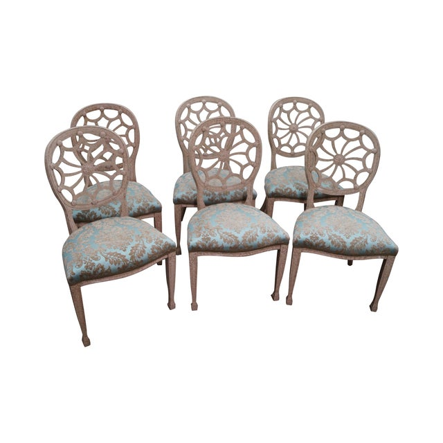Faux Painted Spider Back Dining Chairs - Set of 6 - Image 1 of 10