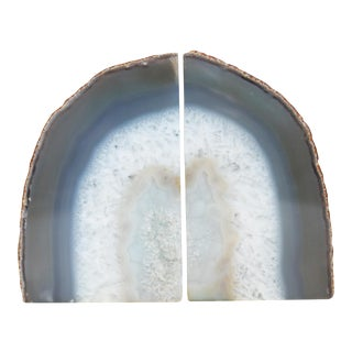 Blue Agate Bookends - A Pair