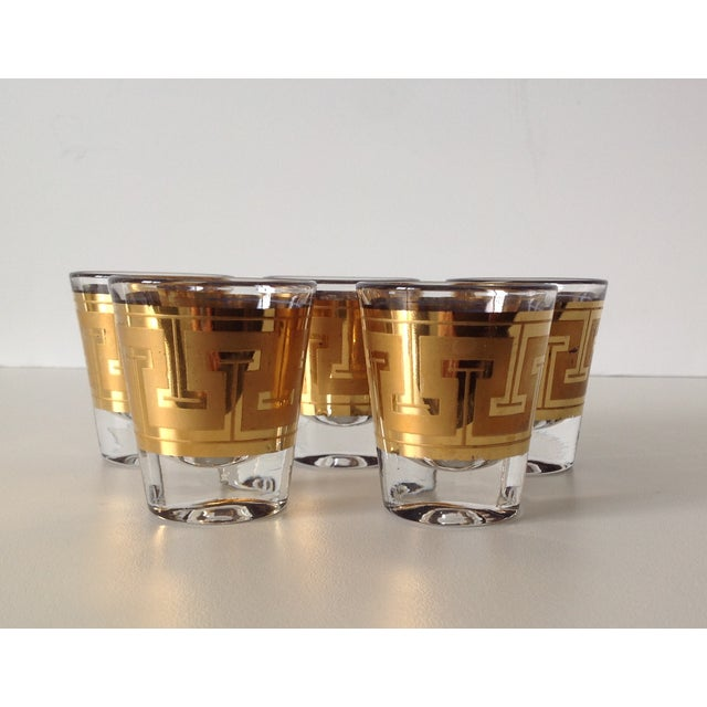 "Gilt ""Greek Key"" Shot Glasses - Set of 5 - Image 2 of 6"