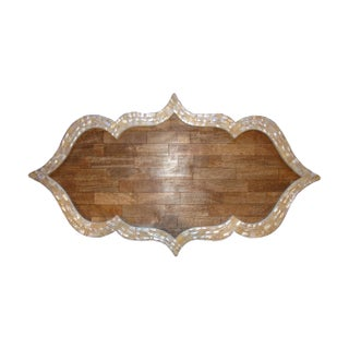 Large Teak Tray with Mother of Pearl