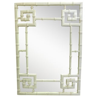Mid-Century Faux Bamboo Greek Key Designed Mirror