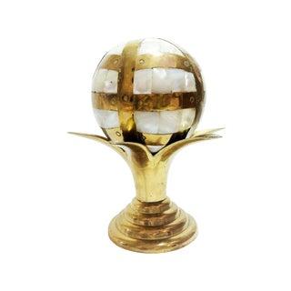 Pearl Inlaid Brass Globe on Brass Stand