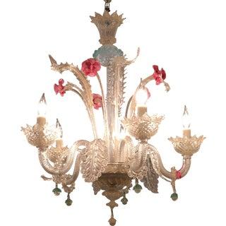Superb Antique Venetian Glass 5 Lite Chandelier