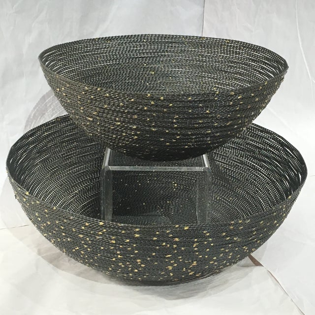 Image of Grey Wire Bowls With Gold Accents - Set of 2