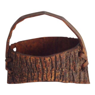 Early 20th Century Bark Covered Handmade Wood Wall Pocket