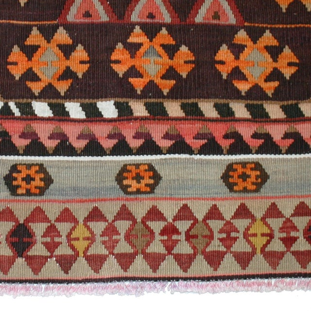 "Vintage Turkish Kilim Rug - 7' X 13'3"" - Image 4 of 8"