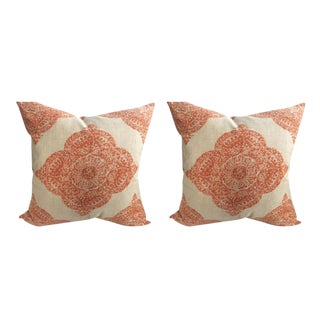 "John Robshaw ""Mani"" in Terracotta Woodblock Medallion Pillows - a Pair"