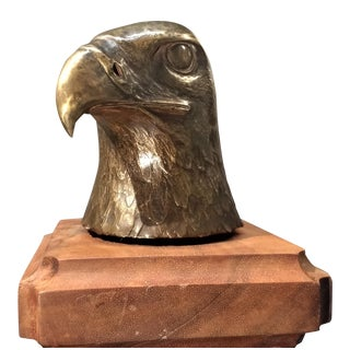 Vintage Brass Eagle-Head Sculpture
