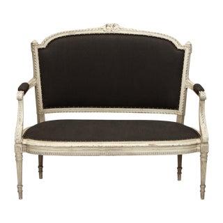 French Dark Gray Upholstered Settee