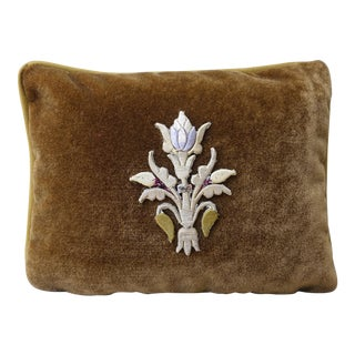 Brown Velvet Raised Center Embroidered Flower Pillow