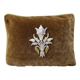 Brown Velvet Raised Center Embroidered Flower Pillow
