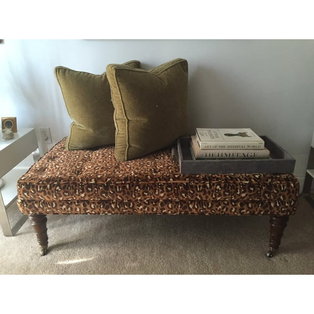Leopard Upholstered Bench on Brass Casters - Image 3 of 8