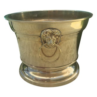 Hollywood Regency Heavy Brass Lionshead Planter