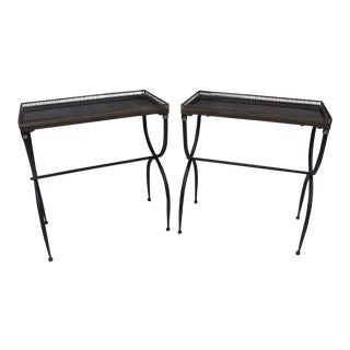 French Metal Base Gallery Top End Tables - A Pair