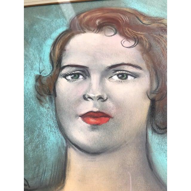 Vintage Chalk Pastels Female Portrait Drawing - Image 7 of 9
