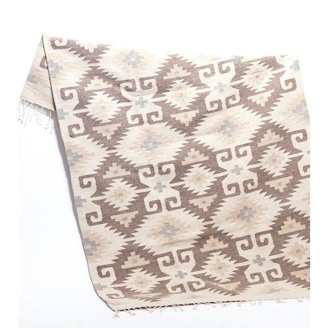 Hand woven Ecru Oaxaca Wool Rug - Image 2 of 4