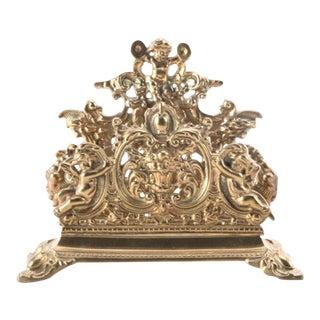 Vintage Brass Victorian Mail Holder or Napkin Holder