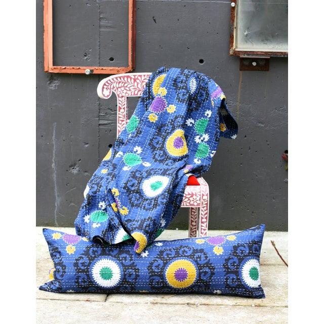 Blue Suzani Kantha Pillow - Image 2 of 2
