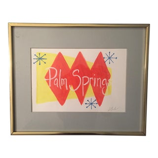 Original Pop Art Palm Springs Framed Painting Signed