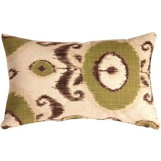 Pillow Decor - Bold Green Ikat 12x20 Throw Pillow