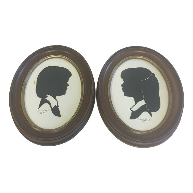Vintage Boy & Girl Silhouettes, 1972 Signed - Pair - Image 1 of 11