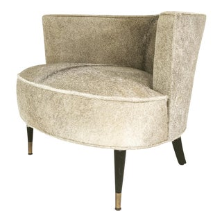 Brazilian Cowhide Upholstered Vintage Barrel Chair