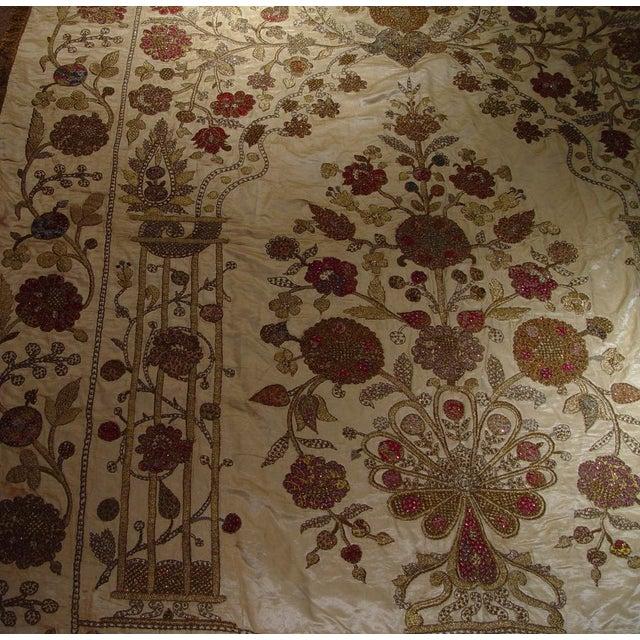 Large Ottoman Large Silkwork Textile Botanical Embroidery Hanging - Image 8 of 9