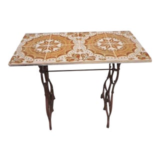 Moroccan Tile Console Industrial Table