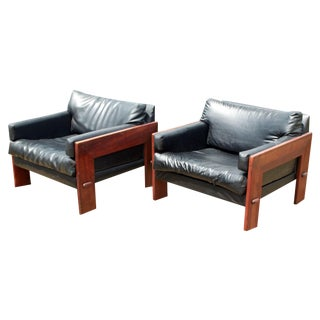 Vintage Adrian Pearsall Mid Century Modern Walnut Lounge Chairs - Pair