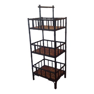 Three-Tiered Campaign-Style Bamboo & Rattan Bar Cart