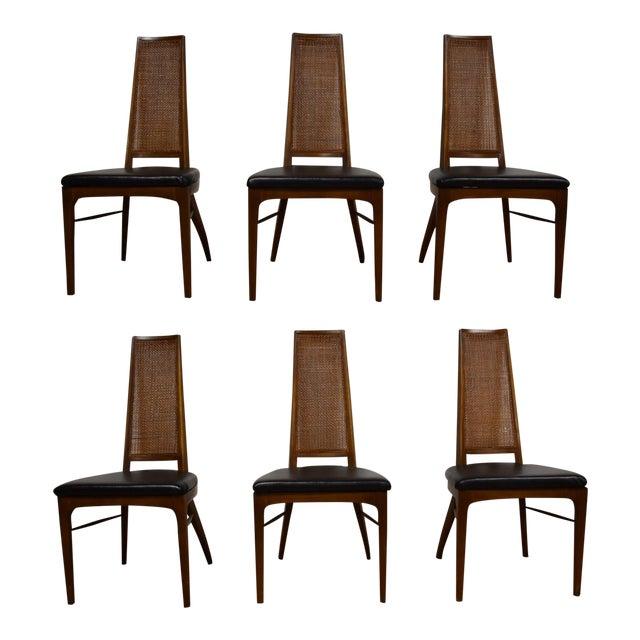 Lane Rhythm Black Vinyl Dining Chairs- Set Of 6