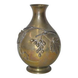 Circa 1920 Vintage Solid Brass Vase With Grapes & Leaves