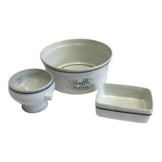 Jacques Labjoy Porcelain Soufflé & Servings Dishes - Set of 3