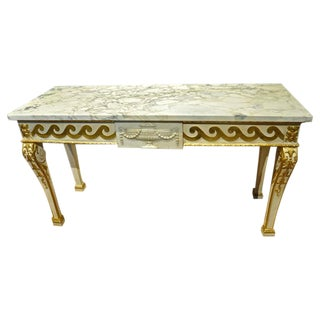 Late 19th Century Irish Parcel-Gilt and Marble Console Table, Style of Kent