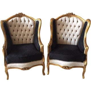 Louis XVI Style Wingback Chairs - A Pair