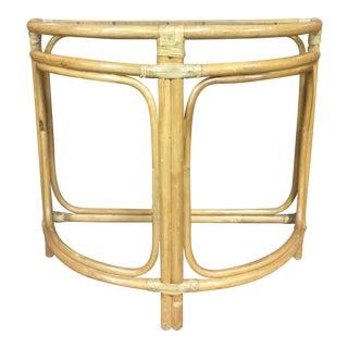 Vintage Boho Chic Bamboo Half-Round Hall Table