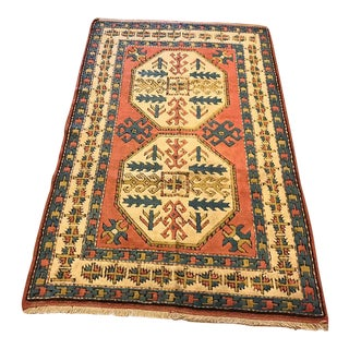 "Vintage Kars Turkish Rug - 4'6"" X 6'"