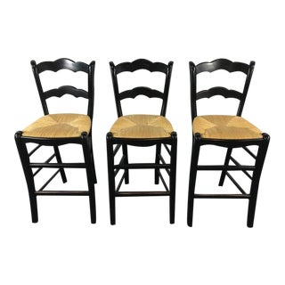 Wood & Wicker Bar Stools - Set of 3