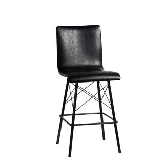 Black Leather & Iron Counter Stool