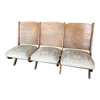 1930s Folding Upholstered Church Bench