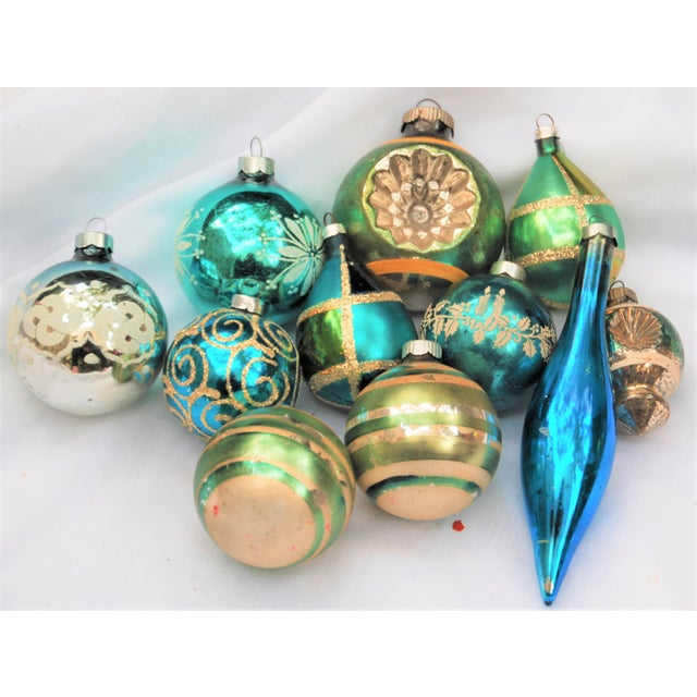 Vintage Blue and Green Glass Ornaments - Set of 11 - Image 10 of 10