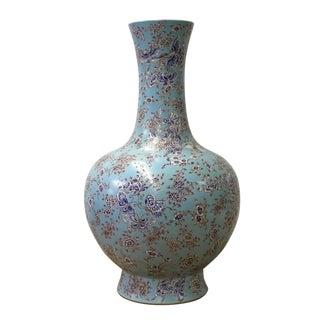 Chinese Light Blue Print Flower Butterflies Porcelain Vase