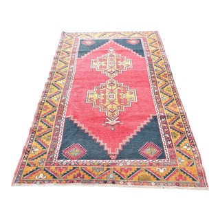 Vintage Turkish Distressed Red Handwoven Anatolian Rug - 4′ × 7′2″