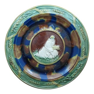19th C. Majolica Bread Tray, Ruth Gathering Wheat