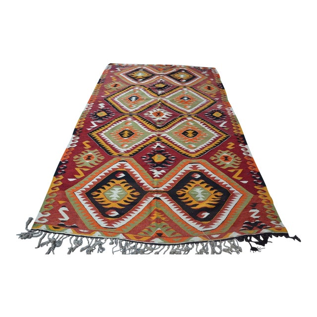 "Turkish Kilim Wool Rug - 5'8"" x 10' - Image 1 of 6"