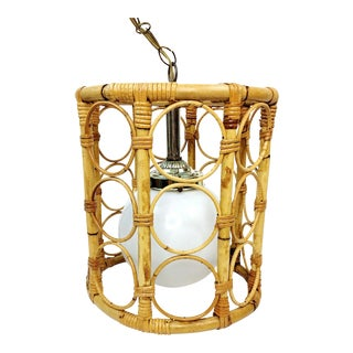 Mid Century Bamboo Rattan Hanging Swag Pendant Lamp