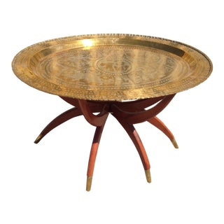 Oval Spider Brass Tray Table