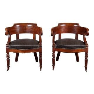 Pair of 19th C. Swedish Mahogany Armchairs